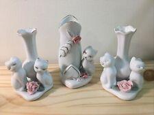 Lot Vintage Porcelain Cat Vase Figurines-Gold Hearts Flowers Valentines Crafts