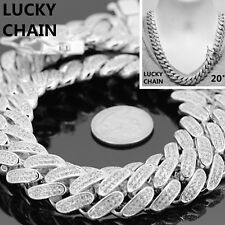 "14K WHITE GOLD FINISH BLING OUT HEAVY CUBAN LINK CHAIN NECKLACE 20""x18mm 295g"