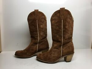 WOMENS UNBRANDED SUEDE COWBOY DARK BROWN BOOTS SIZE 10 N