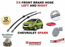 FOR CHEVROLET SPARK 1.0 1.2 2010->NEW 2 X FRONT RUBBER FLEXI BRAKE HOSE 96518629