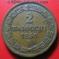 VATICAN 1850-VR 2 BAIOCCHI ROME PAPAL ITALIAN STATES COPPER COIN 19.7gr 35mm