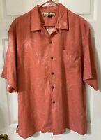 Tommy Bahama Men's Hawaiian Shirt Pink Floral Short Sleeve.100% Silk Size L