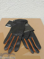 UGG JOEY CINCHED TECH BLACK 2-TONE LEATHER/ CASHMERE SMART GLOVES ~ M ~ NWT