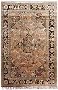 Rare Fine Silk Authentic Oriental Handmade Rug Snowflake 5x8 213cm x 244cm