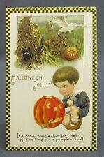 Antique Halloween Postcard Winsch Checkerboard Boy & JOL Pumpkin Hay Field