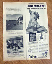 1953 Gaines Dog Meal Ad Boxer Dog