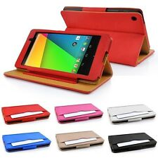 Google Nexus 7 II (2nd Generation) Tan leather Wallet Smart Flip Case Cover