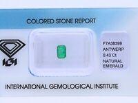 natürlicher 0,43 Karat Smaragd Smaragdschliff green IGI Expertise
