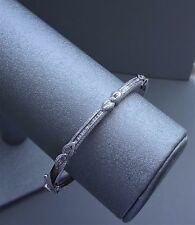 AFFINITY HINGED 14K WHITE GOLD .75 TCW SI1/G BAGUETTE DIAMOND BANGLE BRACELET
