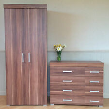 2 Door Wardrobe & 4 4 Chest of Drawers in Walnut Effect Bedroom Furniture 8