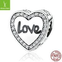 """Authentic 925 Silver """"LOVE"""" Pave CZ Charm Bead Fit Original Women Chain Bracelet"""