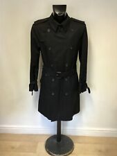 IMMACULATE AQUASCUTUM BLACK BELTED KNEE LENGTH TRENCH COAT SIZE 42 REG