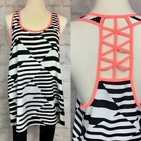 Anthropologie Everly Made in USA Geometric Hot Pink lattice back top Large