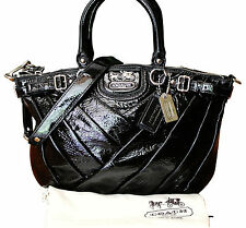 NEW COACH MADISON DIAGONAL PLEATED SOPHIA BLACK PATENT LEATHER 20181P ~msrp $428