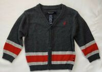 Nautica Baby Boys 6-9 Months Gray and Red Holiday Cardigan Sweater