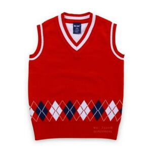 Winter Fashion Kids Boys Knitted Child Sweater Vest V Neck Sleeveless Pullover