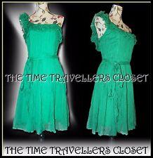 Kate Moss Topshop Selten 1st Sammlung grün Chiffon Rüschen Kleid UK10 12 Rp £ 240