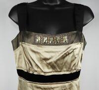 Elie Tahari Women's Gold & Black Silk Sleeveless Top Size Small