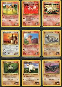 2000 Pokemon 1st Edition Gym Heroes COMPLETE Common + Energy SET ~Mint to NM~