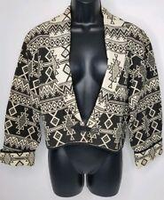 Vintage 90s Gold Tapestry Cropped Aztec Tribal Southwest Jacket Blazer M