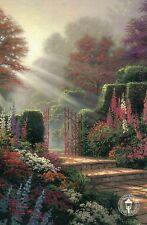 Garden of Grace - Gate, Sun Rays, Flowers Trees - Thomas Kinkade Dealer Postcard
