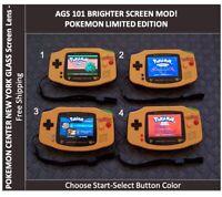 Nintendo Game Boy Advance POKEMON Limited Edition System AGS 101 Backlit Mod