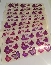 Sandylion Pink and Purple Butterflies Stickers lot of 9 SHEETS 2 X 6 good seller