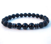 Mens Black Tourmaline Matte Agate Stone Protection Yoga Beaded Stretch Bracelet