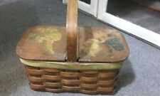 Vintage Decor Antique splint woven Oak  Primitive hinged top Picnic style basket