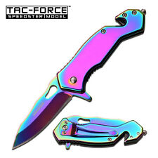 TACFORCE SPRING ASSISTED KNIFE RAINBOW FINISH TACTICAL RESCUE WITH POCKET CLIP