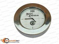 Brand New Brass Chromed Stem Nut Clock / White Face Clock Royal Enfield Logo