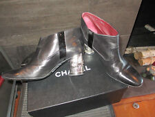 Authentic Chanel short black leather bootie size 39.5 made in Italy