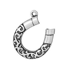 5 Large Silver Tone Metal Filigree HORSESHOE Charm Pendants chs1566