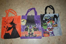 Kids Halloween 3 LOT TRICK OR TREAT BAGS Candy Bag WITCH CATS MUMMY BATS 14.5x16