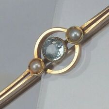 Victorian 9ct gold brooch pin with blue stone aquarmarine colour & seed pearls