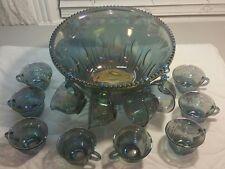 Vtg Indiana Blue Iridescent Carnival Harvest Grape Punch Bowl & 12 Cups Set