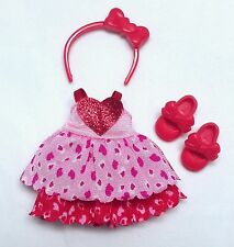 Chelsea Kelly Doll Clothes Valentine Heart Print Pink Red Dress Headband shoes