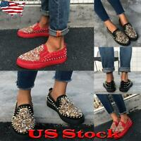 Women Rivet Round Toe Flat Shoes Ladies Sequins Slip On Loafers Casual Party US
