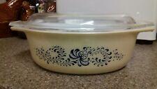 Vintage pyrex USA  Homestead Blue Swirl oval casserole