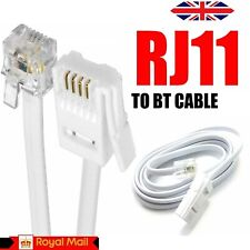 More details for bt to rj11 telephone modem cable lead uk fax router phone sky box   – white