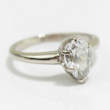 PRETTY 14K WHITE GOLD PEAR / DROP CUT CLEAR RHINESTONE SOLITAIRE RING SIZE 5.5