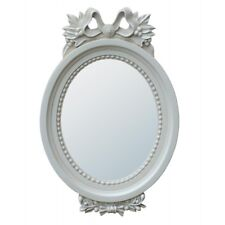 Antique Style Ribbon White Floral Decorative Wall Bedroom Hall Oval Mirror