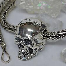 L: 56 x 5,7mm 925 Silberkette Handgeflochten dr. Skull Totenkopf Totenschädel