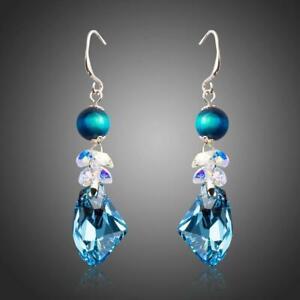 Valentines Gift For Friend SEA BLUE CRYSTAL DROP EARRINGS KHAISTA