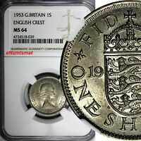 Great Britain Elizabeth II 1953 1 Shilling NGC MS64 English Crest Toning KM# 890