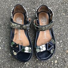 Jeffrey Campbell 6 Sandals Shoes Wedge Metal Metallic Platform Navy Silver