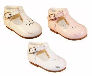 NEW GIRLS INFANT SEVVA FIRST PRAM/WALKING PATENT LEATHER SHOES PARTY/WEDDING 2-6