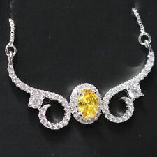 Sparkling Oval Citrine Necklace Women Wedding Jewelry 14K White Gold Plated