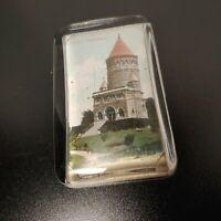 Glass solid paperweight, rectangular, Garfield Memorial, mirror