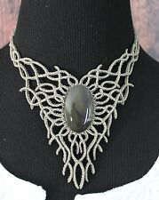 Elegant Obsidian Elvish Style Macrame Necklace Mexican Folk Art Hippie Boho